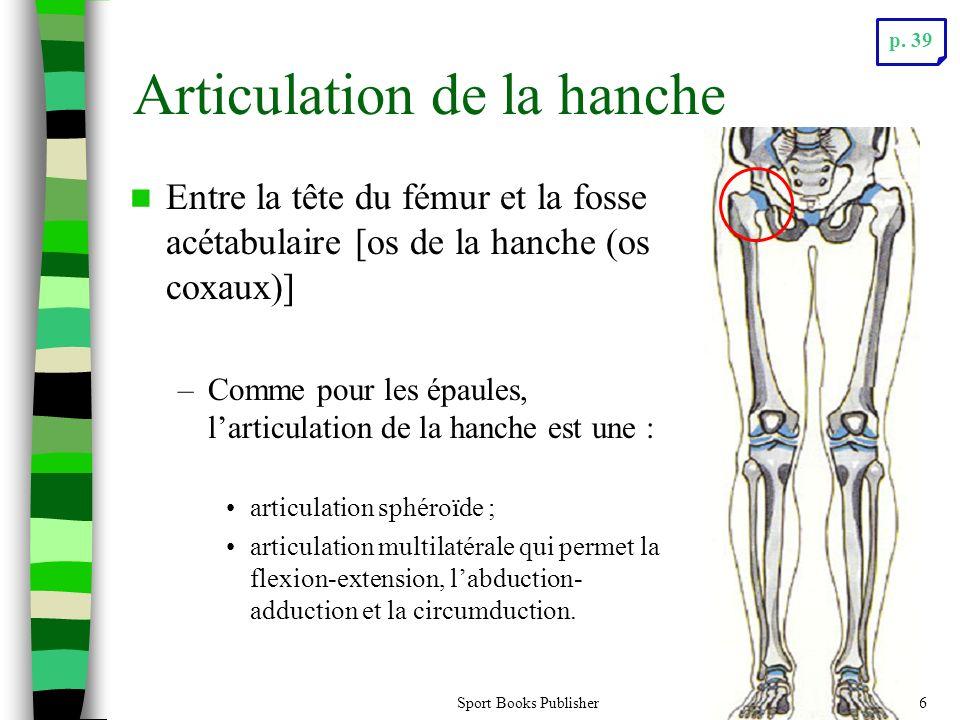 Sport Books Publisher26 Articulation de la hanche Entre la tête du fémur et la fosse acétabulaire [os de la hanche (os coxaux)] –Comme pour les épaule