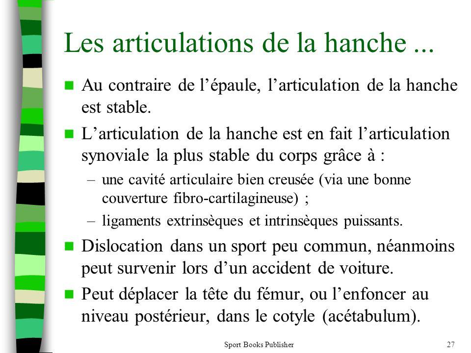 Sport Books Publisher27 Les articulations de la hanche... Au contraire de lépaule, larticulation de la hanche est stable. Larticulation de la hanche e