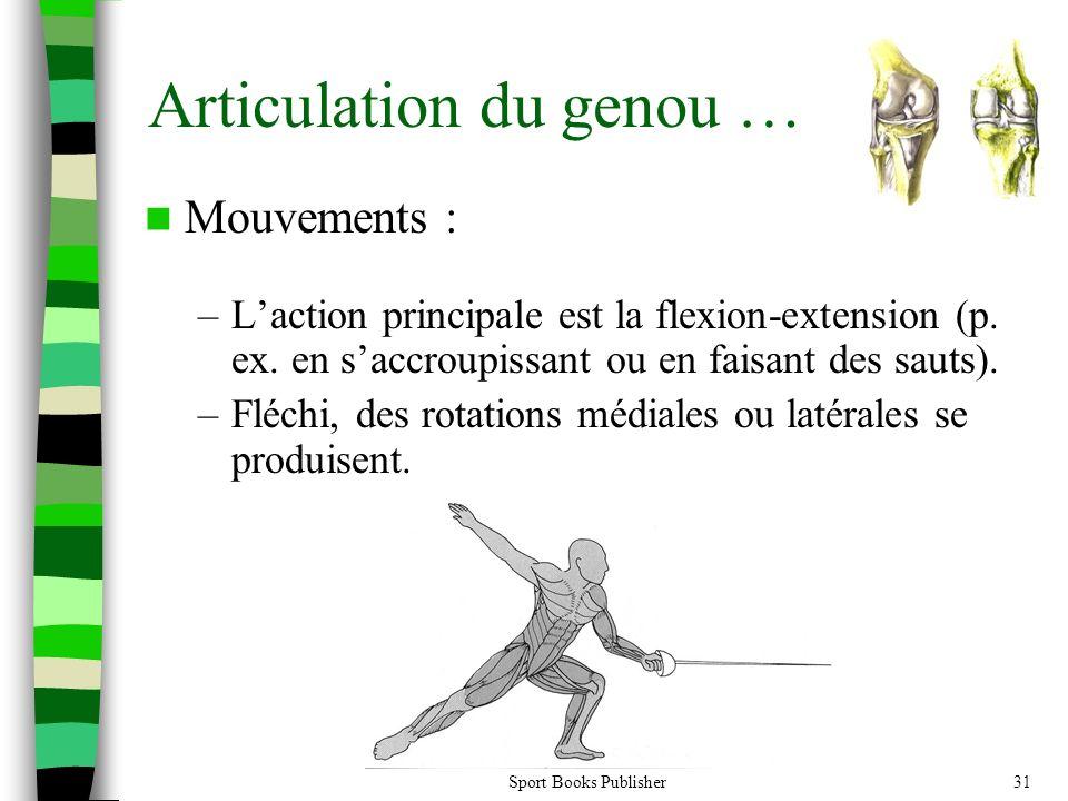 Sport Books Publisher31 Articulation du genou … Mouvements : –Laction principale est la flexion-extension (p. ex. en saccroupissant ou en faisant des