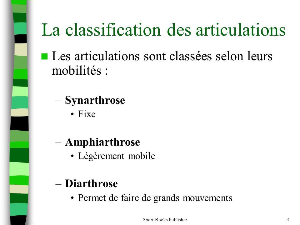 Sport Books Publisher4 La classification des articulations Les articulations sont classées selon leurs mobilités : –Synarthrose Fixe –Amphiarthrose Lé