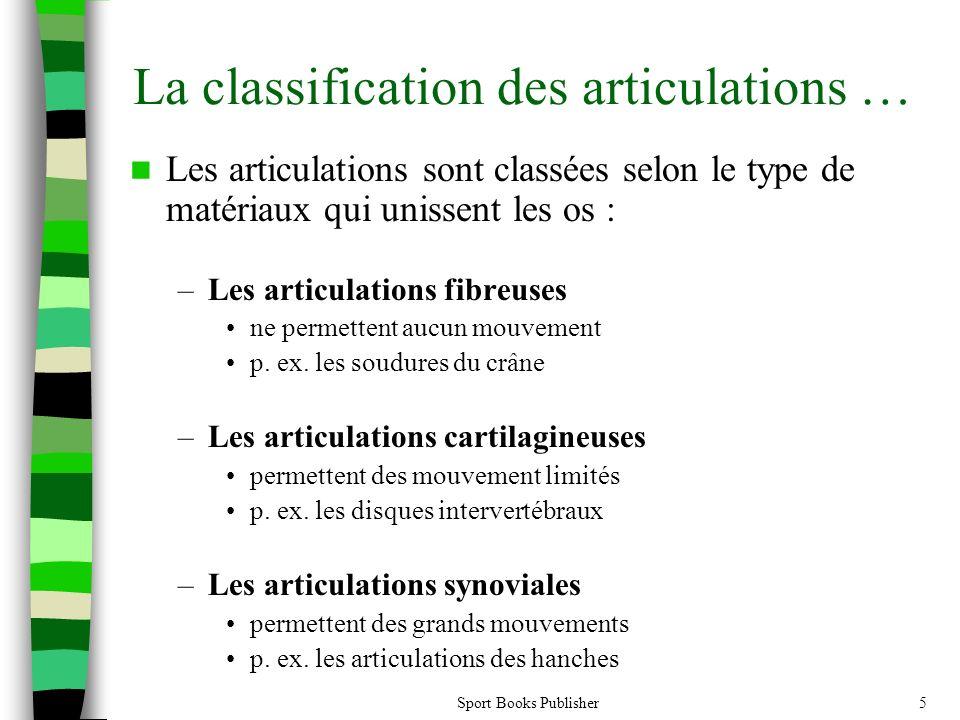 Sport Books Publisher5 La classification des articulations … Les articulations sont classées selon le type de matériaux qui unissent les os : –Les articulations fibreuses ne permettent aucun mouvement p.