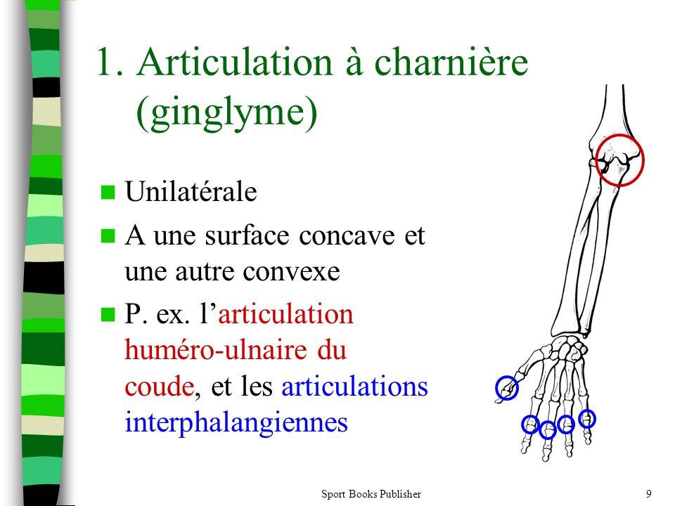 Sport Books Publisher9 1.Articulation à charnière (ginglyme) Unilatérale A une surface concave et une autre convexe P.