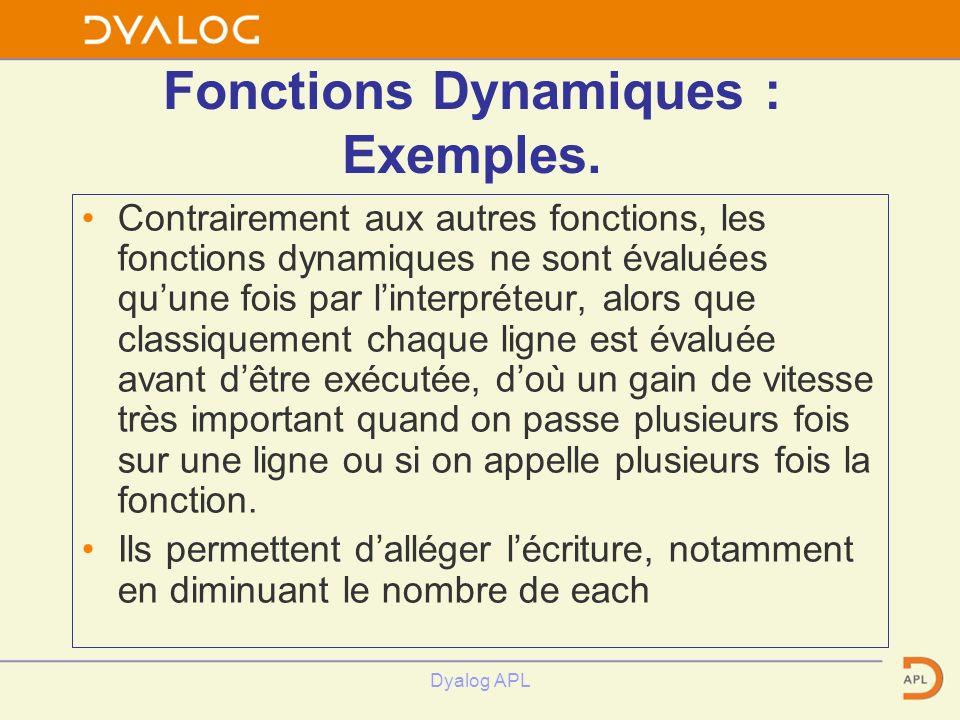 Dyalog APL Fonctions Dynamiques : Exemples. Contrairement aux autres fonctions, les fonctions dynamiques ne sont évaluées quune fois par linterpréteur