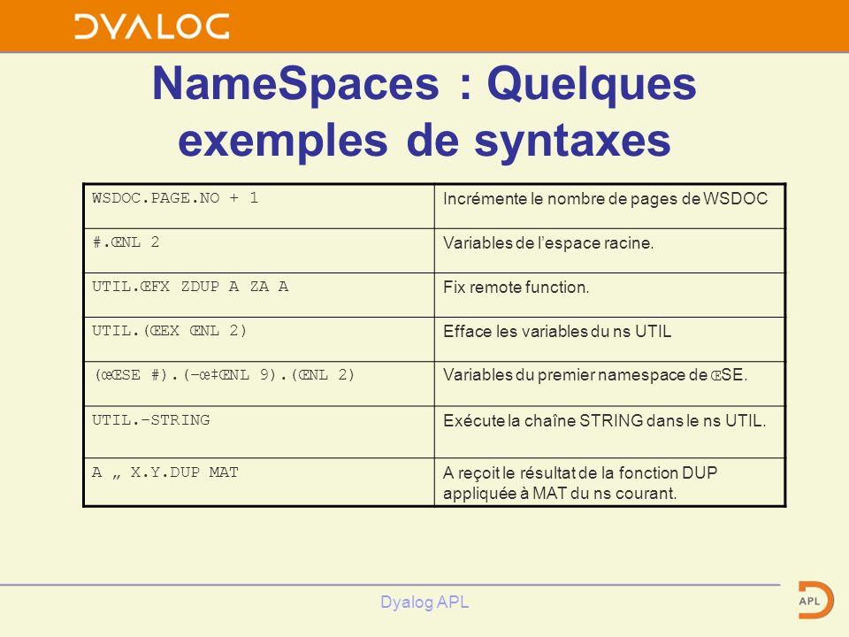 Dyalog APL NameSpaces : Quelques exemples de syntaxes WSDOC.PAGE.NO + 1Incrémente le nombre de pages de WSDOC #.ŒNL 2Variables de lespace racine. UTIL