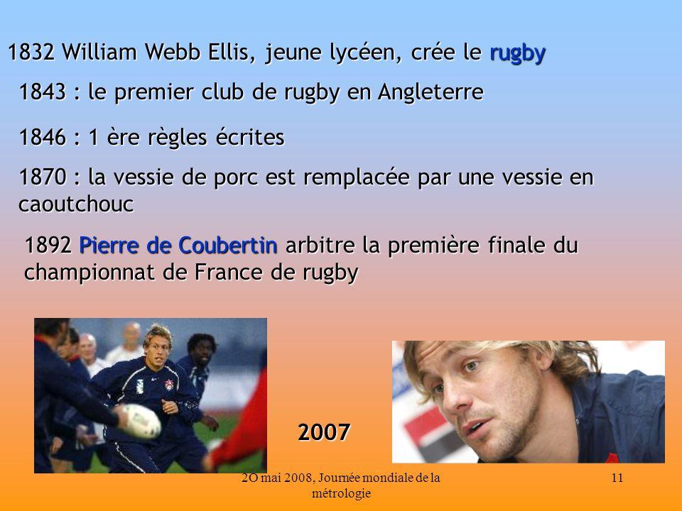 2O mai 2008, Journée mondiale de la métrologie 11 1843 : le premier club de rugby en Angleterre 1846 : 1 ère règles écrites 1870 : la vessie de porc e