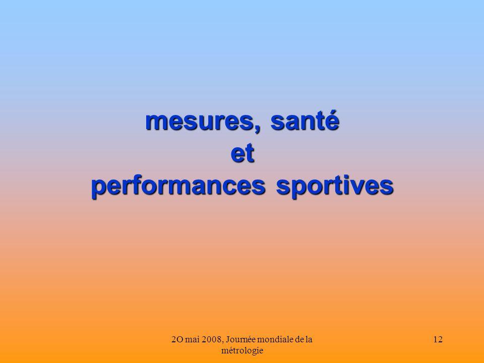 2O mai 2008, Journée mondiale de la métrologie 12 mesures, santé et performances sportives