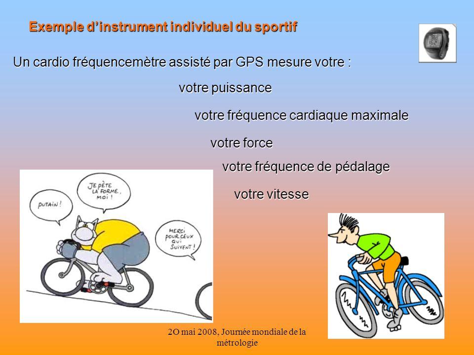 2O mai 2008, Journée mondiale de la métrologie 16 Un cardio fréquencemètre assisté par GPS mesure votre : votre puissance votre fréquence cardiaque ma