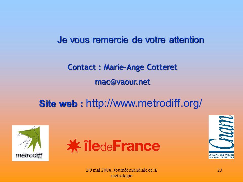 2O mai 2008, Journée mondiale de la métrologie 23 Je vous remercie de votre attention Site web : Site web : http://www.metrodiff.org/ Contact : Marie-