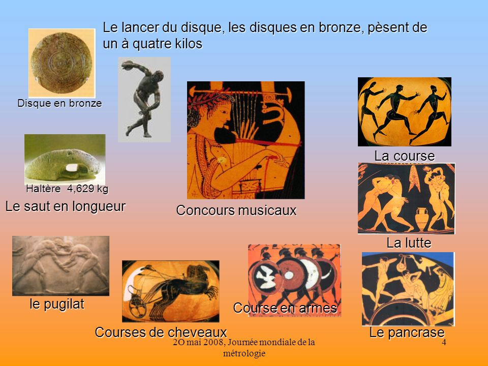 2O mai 2008, Journée mondiale de la métrologie 4 Le lancer du disque, les disques en bronze, pèsent de un à quatre kilos Le saut en longueur Haltère 4