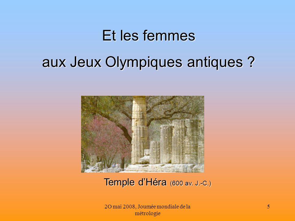 2O mai 2008, Journée mondiale de la métrologie 5 Et les femmes aux Jeux Olympiques antiques ? Temple dHéra (600 av. J.-C.)