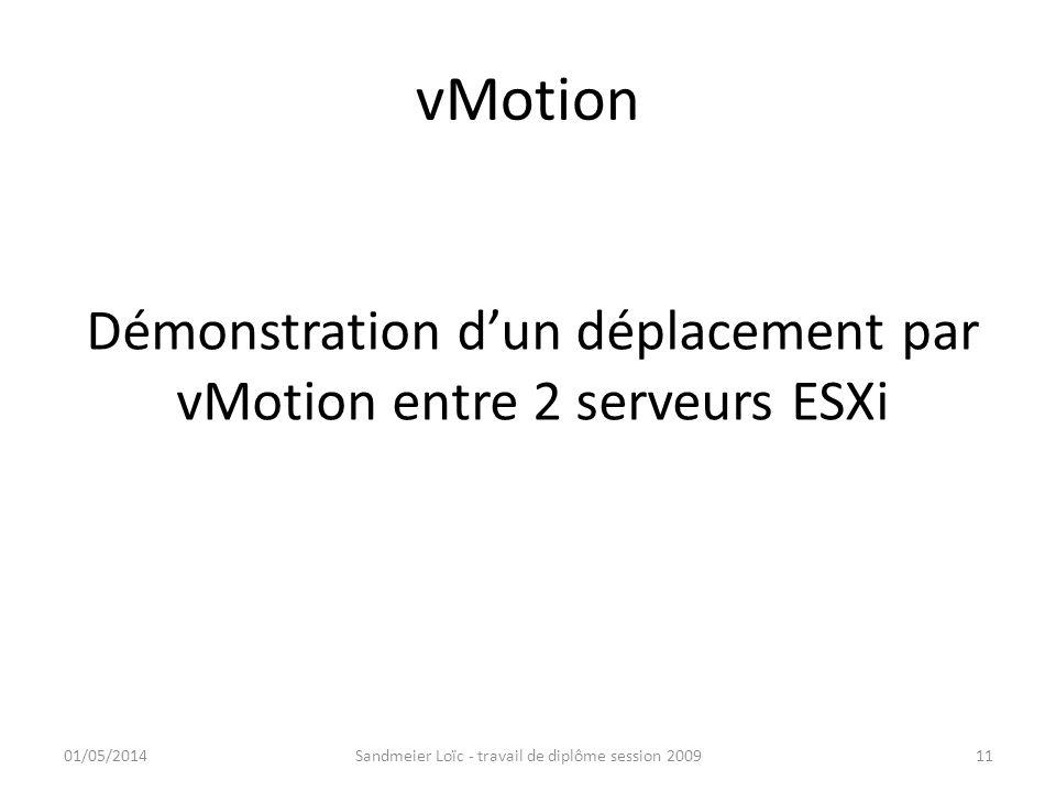 vMotion Démonstration dun déplacement par vMotion entre 2 serveurs ESXi 01/05/2014Sandmeier Loïc - travail de diplôme session 200911