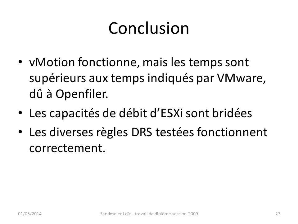 Conclusion vMotion fonctionne, mais les temps sont supérieurs aux temps indiqués par VMware, dû à Openfiler. Les capacités de débit dESXi sont bridées