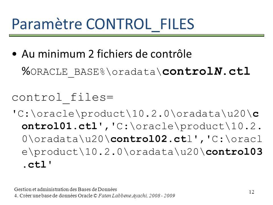 12 Gestion et administration des Bases de Données 4. Créer une base de données Oracle © Faten Labbene Ayachi, 2008 - 2009 Paramètre CONTROL_FILES Au m