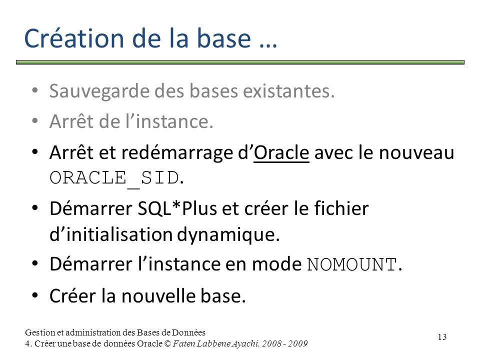 13 Gestion et administration des Bases de Données 4. Créer une base de données Oracle © Faten Labbene Ayachi, 2008 - 2009 Création de la base … Sauveg