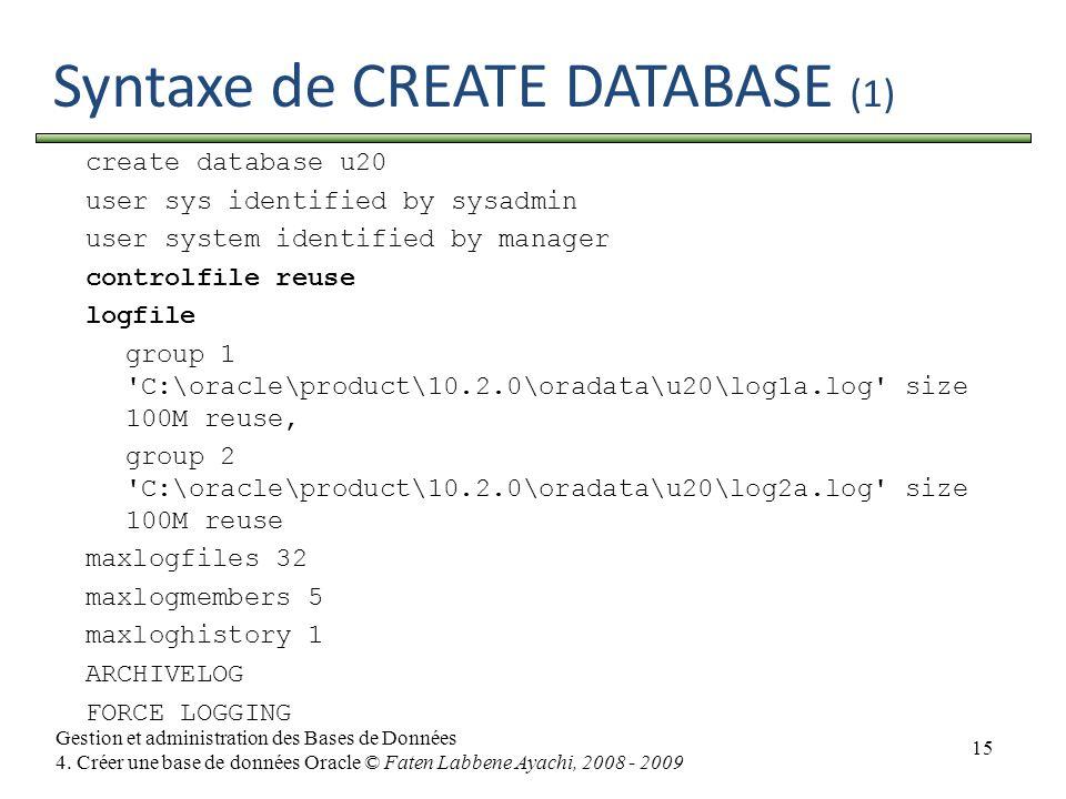 15 Gestion et administration des Bases de Données 4. Créer une base de données Oracle © Faten Labbene Ayachi, 2008 - 2009 Syntaxe de CREATE DATABASE (