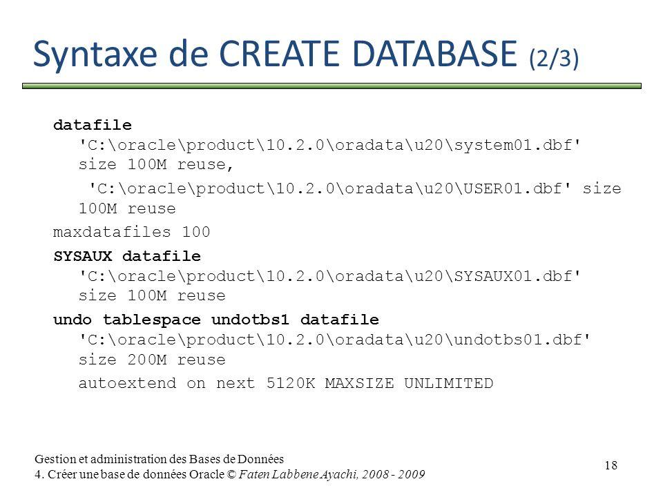 18 Gestion et administration des Bases de Données 4. Créer une base de données Oracle © Faten Labbene Ayachi, 2008 - 2009 Syntaxe de CREATE DATABASE (