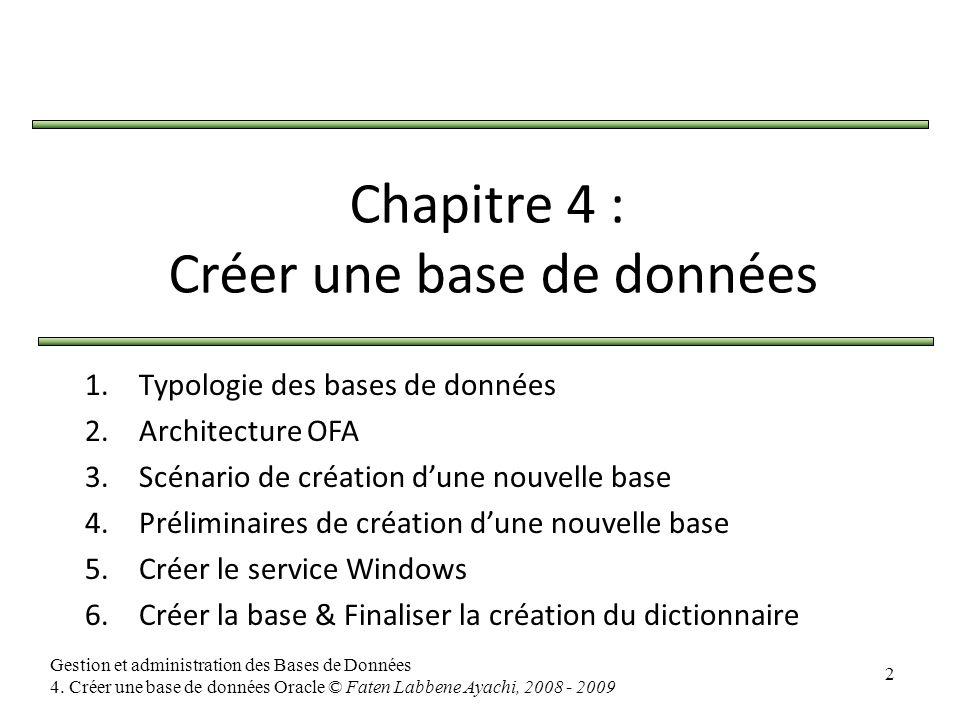 2 Gestion et administration des Bases de Données 4. Créer une base de données Oracle © Faten Labbene Ayachi, 2008 - 2009 Chapitre 4 : Créer une base d