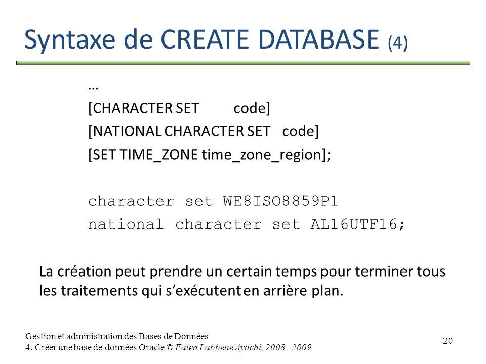 20 Gestion et administration des Bases de Données 4. Créer une base de données Oracle © Faten Labbene Ayachi, 2008 - 2009 Syntaxe de CREATE DATABASE (