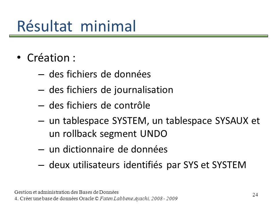 24 Gestion et administration des Bases de Données 4. Créer une base de données Oracle © Faten Labbene Ayachi, 2008 - 2009 Résultat minimal Création :