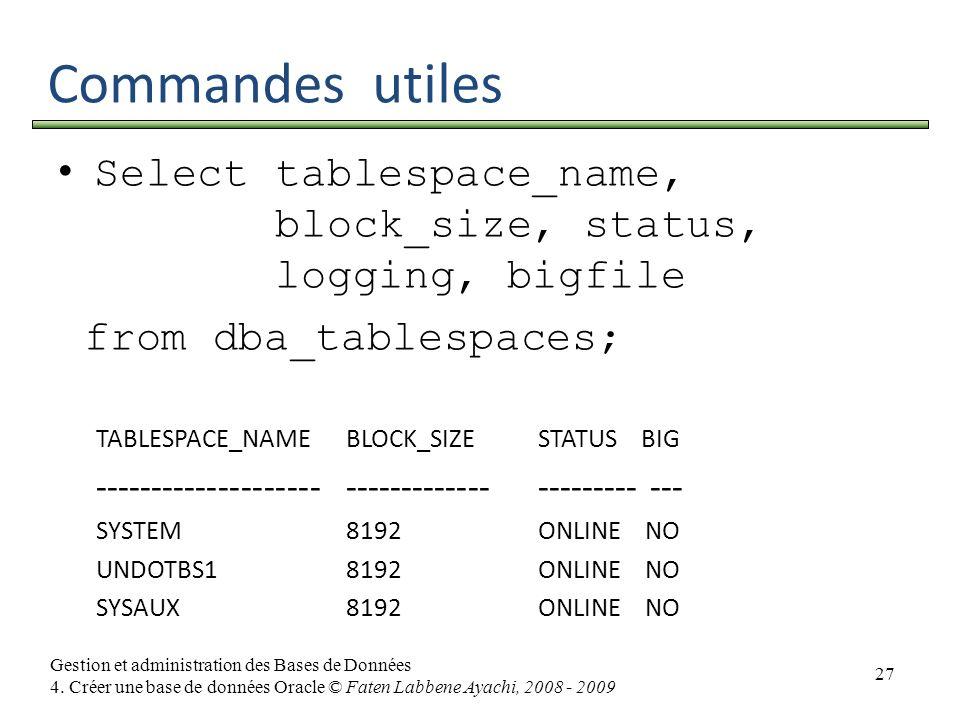 27 Gestion et administration des Bases de Données 4. Créer une base de données Oracle © Faten Labbene Ayachi, 2008 - 2009 Commandes utiles Selecttable