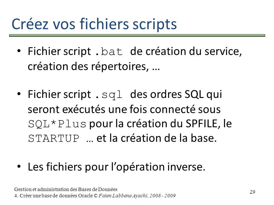 29 Gestion et administration des Bases de Données 4. Créer une base de données Oracle © Faten Labbene Ayachi, 2008 - 2009 Créez vos fichiers scripts F