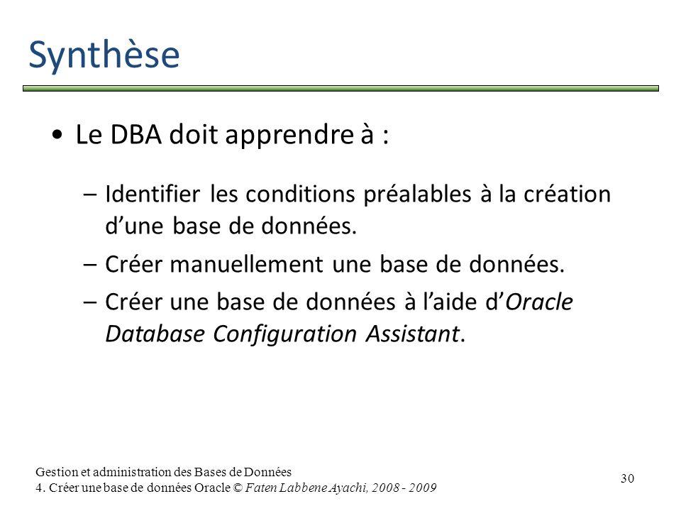 30 Gestion et administration des Bases de Données 4. Créer une base de données Oracle © Faten Labbene Ayachi, 2008 - 2009 Synthèse Le DBA doit apprend