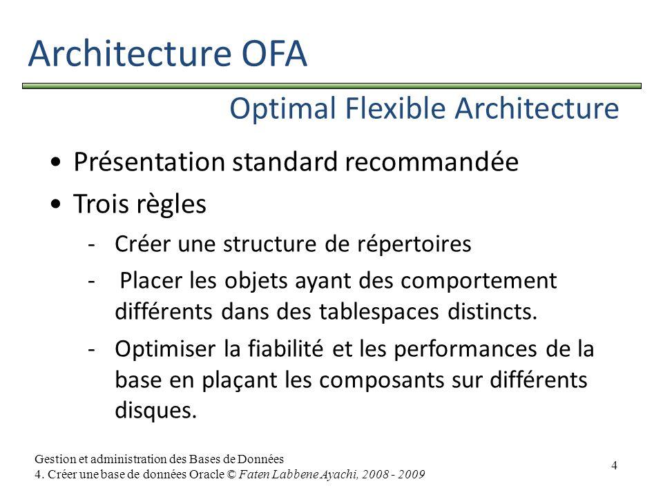 4 Gestion et administration des Bases de Données 4. Créer une base de données Oracle © Faten Labbene Ayachi, 2008 - 2009 Architecture OFA Optimal Flex