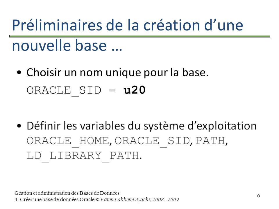 6 Gestion et administration des Bases de Données 4. Créer une base de données Oracle © Faten Labbene Ayachi, 2008 - 2009 Préliminaires de la création