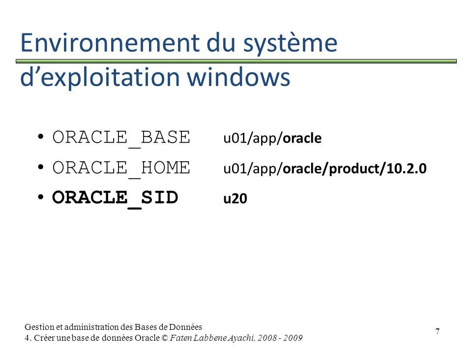 7 Gestion et administration des Bases de Données 4. Créer une base de données Oracle © Faten Labbene Ayachi, 2008 - 2009 Environnement du système dexp