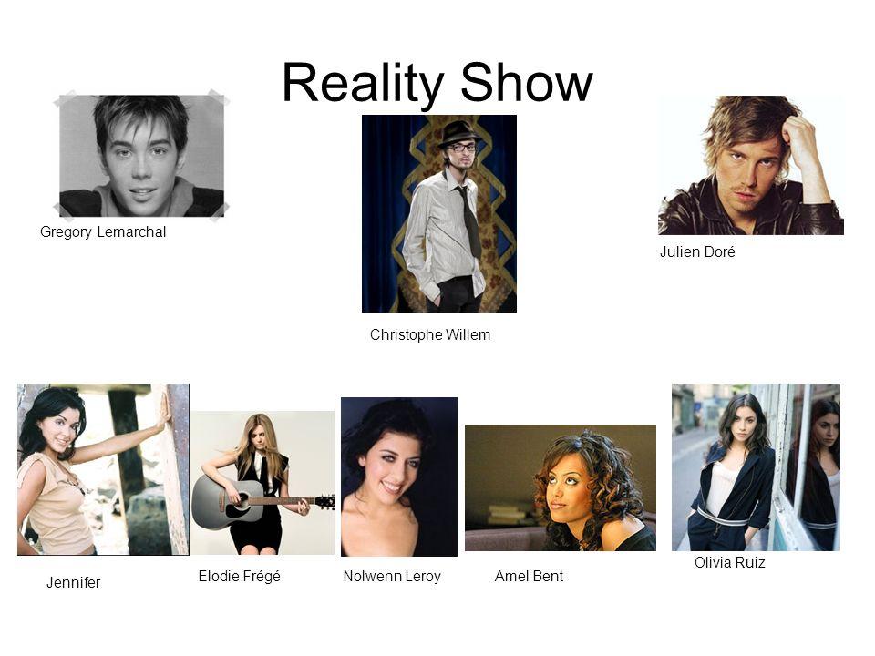 Reality Show Gregory Lemarchal Jennifer Elodie FrégéNolwenn LeroyAmel Bent Christophe Willem Julien Doré Olivia Ruiz