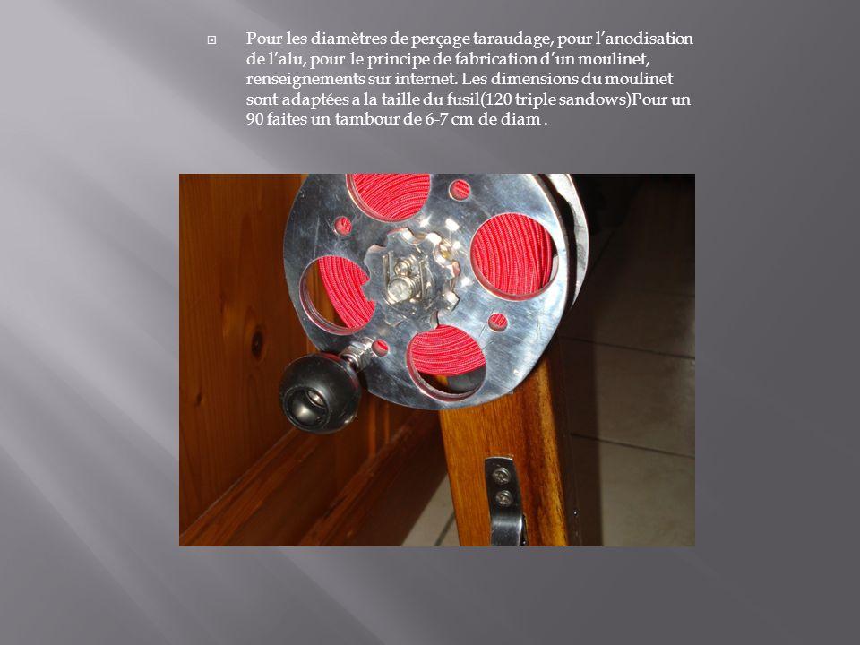 Pour les diamètres de perçage taraudage, pour lanodisation de lalu, pour le principe de fabrication dun moulinet, renseignements sur internet. Les dim