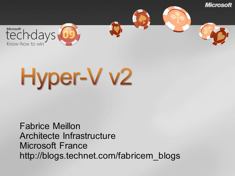 Live Migration grâce au CSV (déplacement à chaud des VMs) Performances Support jusquà 32 processeurs logiques Prise en comptes des évolutions matérielles (SLAT, TCP Offload, VMQ) Administration SCVMM R2 Scénario de virtualisation des postes clients (VDI)