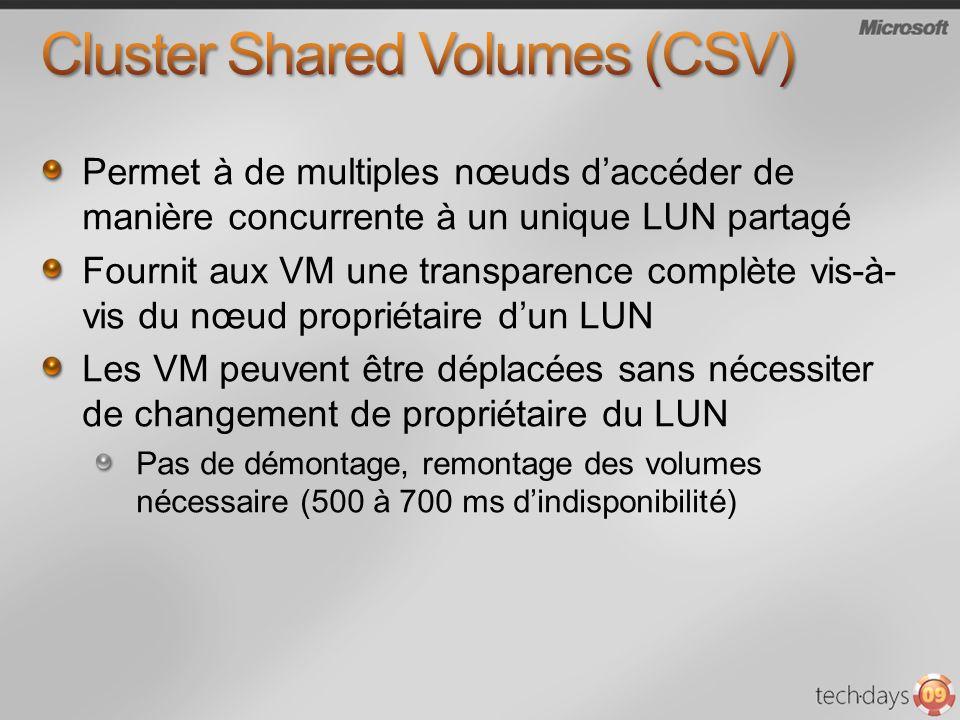 Permet à de multiples nœuds daccéder de manière concurrente à un unique LUN partagé Fournit aux VM une transparence complète vis-à- vis du nœud propri
