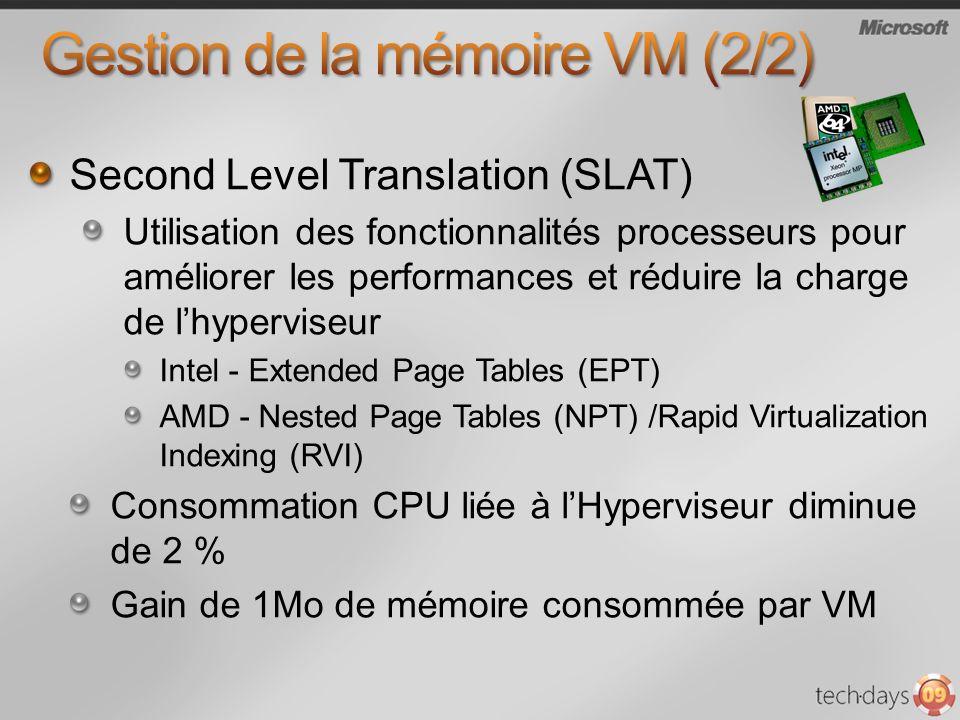 Second Level Translation (SLAT) Utilisation des fonctionnalités processeurs pour améliorer les performances et réduire la charge de lhyperviseur Intel