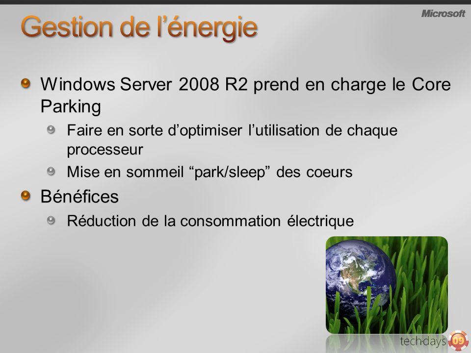 Windows Server 2008 R2 prend en charge le Core Parking Faire en sorte doptimiser lutilisation de chaque processeur Mise en sommeil park/sleep des coeu