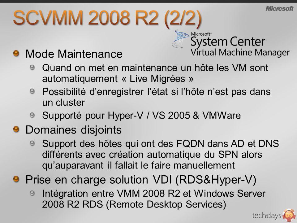 Mode Maintenance Quand on met en maintenance un hôte les VM sont automatiquement « Live Migrées » Possibilité denregistrer létat si lhôte nest pas dan
