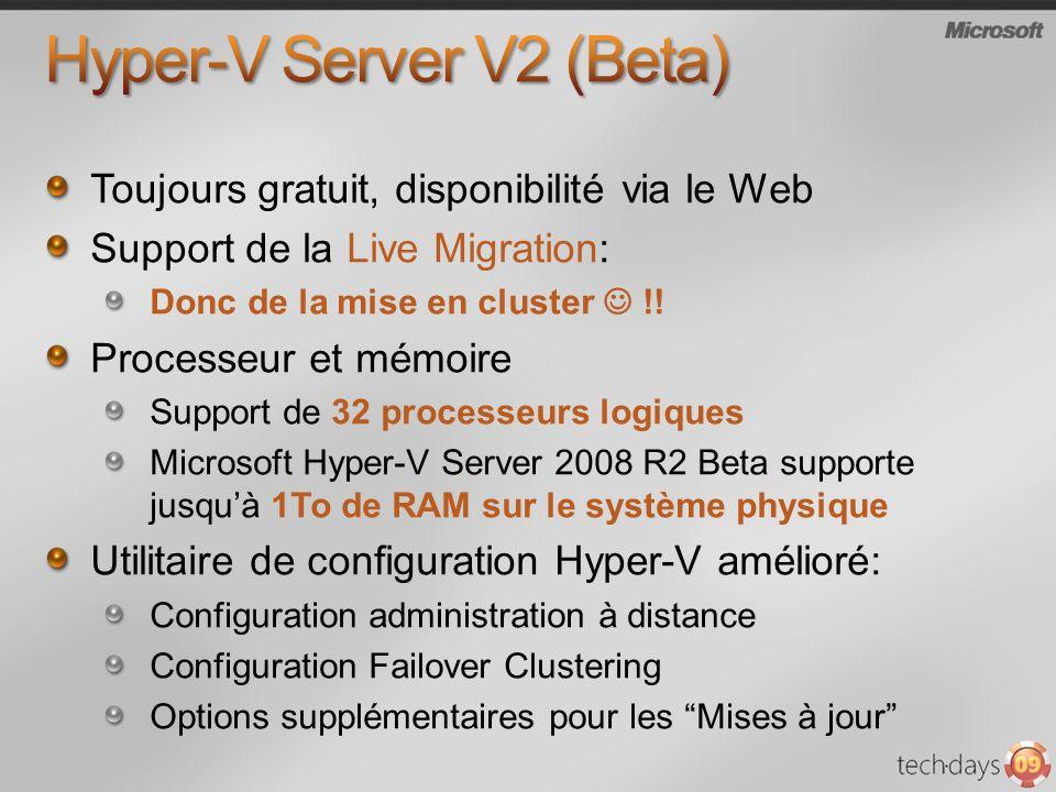 Toujours gratuit, disponibilité via le Web Support de la Live Migration: Donc de la mise en cluster !! Processeur et mémoire Support de 32 processeurs