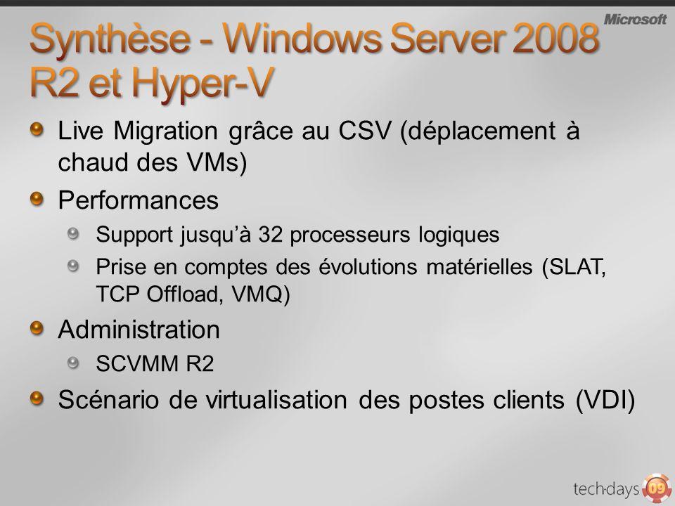 Live Migration grâce au CSV (déplacement à chaud des VMs) Performances Support jusquà 32 processeurs logiques Prise en comptes des évolutions matériel