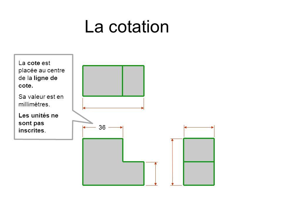 36 La cote est placée au centre de la ligne de cote. Sa valeur est en millimètres. Les unités ne sont pas inscrites. La cotation