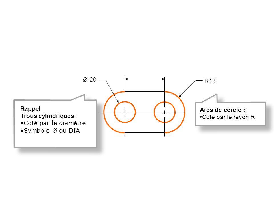 R18 Ø 20 Arcs de cercle : Coté par le rayon R Rappel Trous cylindriques : Cot é par le diam è tre Symbole Ø ou DIA