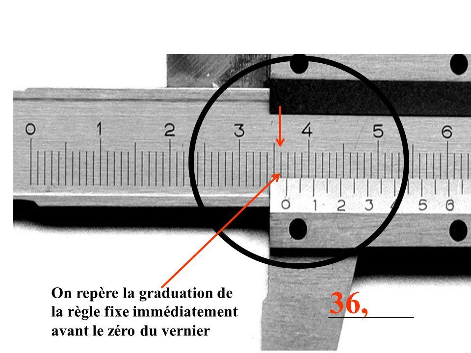 On repère la graduation de la règle fixe immédiatement avant le zéro du vernier 36,