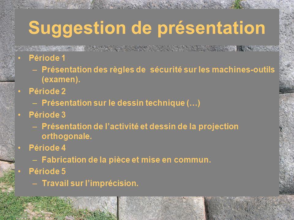 Suggestion de présentation Période 1 –Présentation des règles de sécurité sur les machines-outils (examen). Période 2 –Présentation sur le dessin tech