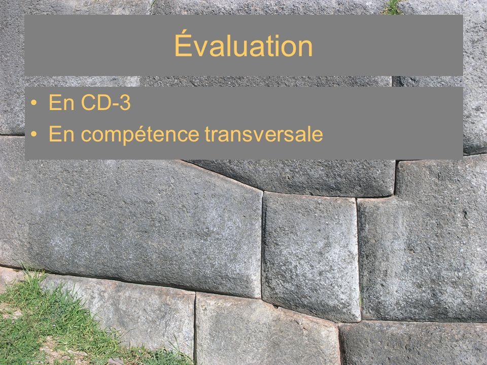 En CD-3 En compétence transversale Évaluation