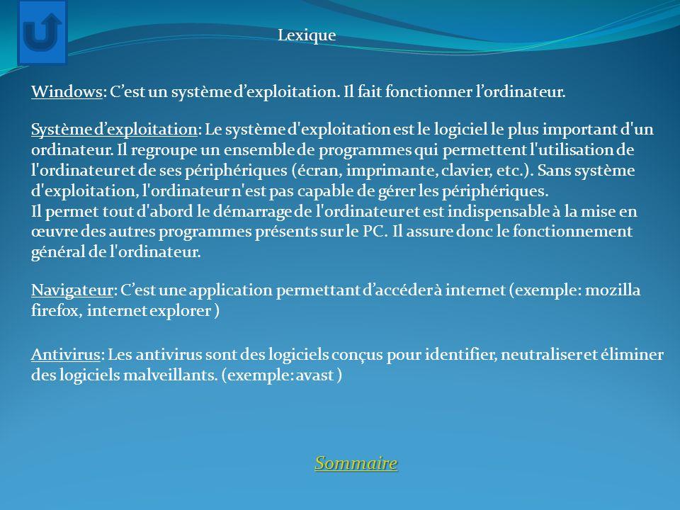 Lexique Sommaire Windows: Cest un système dexploitation. Il fait fonctionner lordinateur. Système dexploitation: Le système d'exploitation est le logi