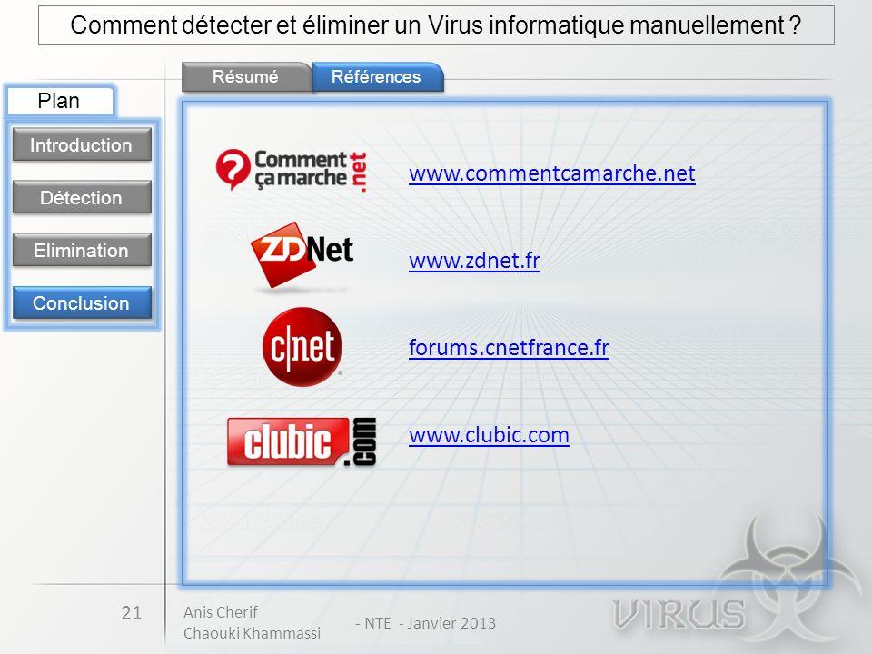 Résumé 21 Comment détecter et éliminer un Virus informatique manuellement ? Détection Introduction Elimination Conclusion Plan Références www.commentc