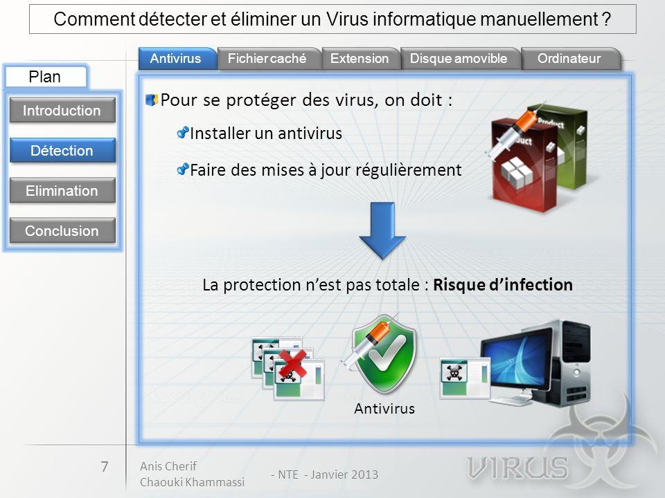 Pour se protéger des virus, on doit : Antivirus Ordinateur 7 Fichier caché Détection Introduction Elimination Conclusion Plan Comment détecter et élim