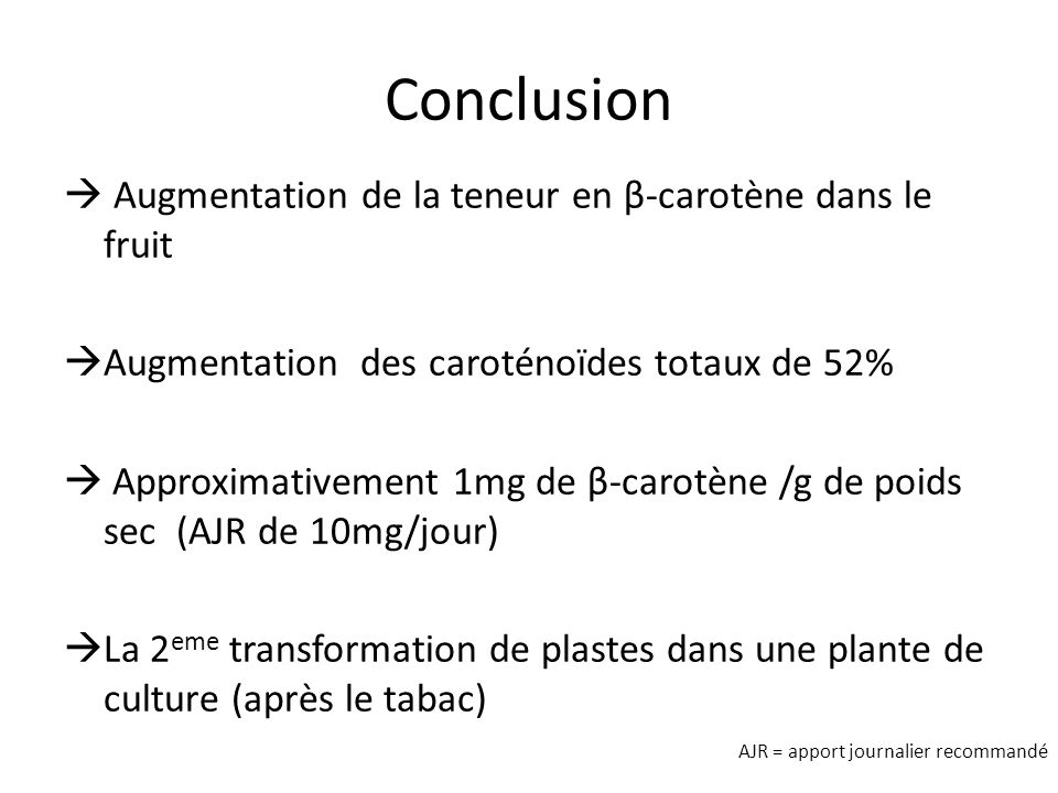 Conclusion Augmentation de la teneur en β-carotène dans le fruit Augmentation des caroténoïdes totaux de 52% Approximativement 1mg de β-carotène /g de