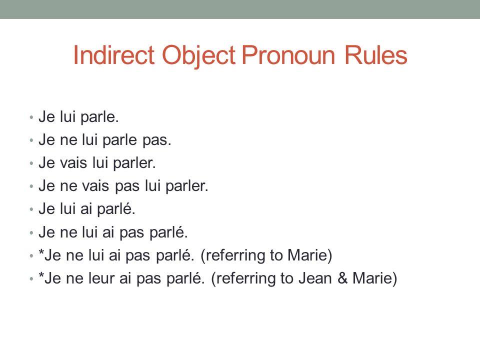 Indirect Object Pronoun Rules Je lui parle. Je ne lui parle pas. Je vais lui parler. Je ne vais pas lui parler. Je lui ai parlé. Je ne lui ai pas parl