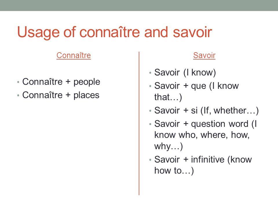 Usage of connaître and savoir Connaître Connaître + people Connaître + places Savoir Savoir (I know) Savoir + que (I know that…) Savoir + si (If, whet