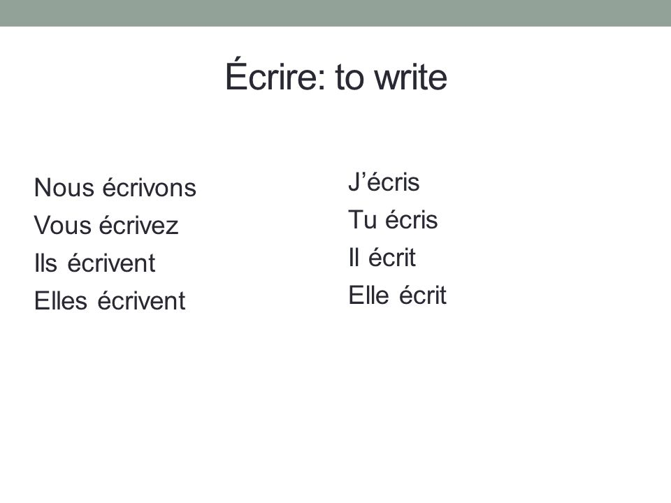 Écrire: to write Jécris Tu écris Il écrit Elle écrit Nous écrivons Vous écrivez Ils écrivent Elles écrivent